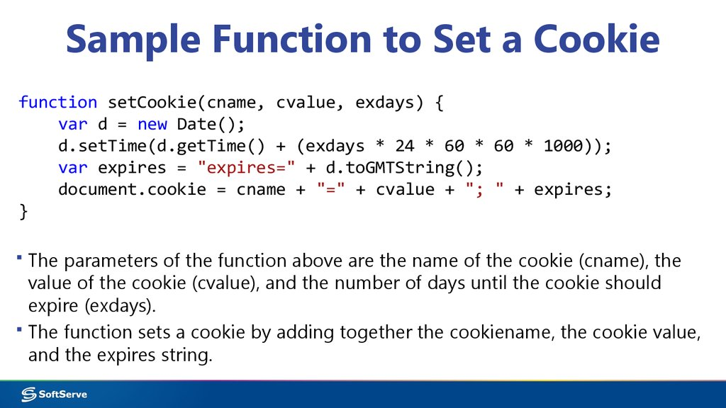 Sample Function to Set a Cookie