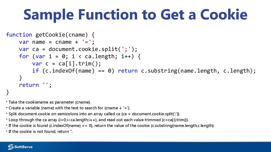 Sample Function to Get a Cookie