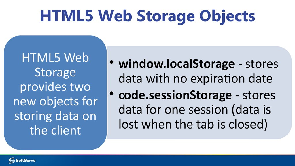 HTML5 Web Storage Objects