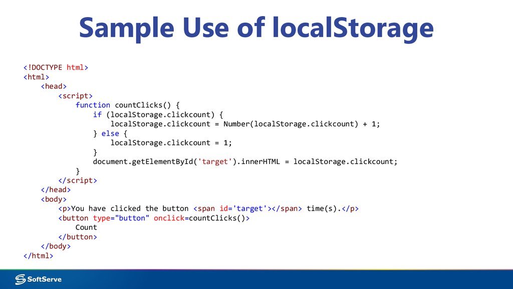 Sample Use of localStorage