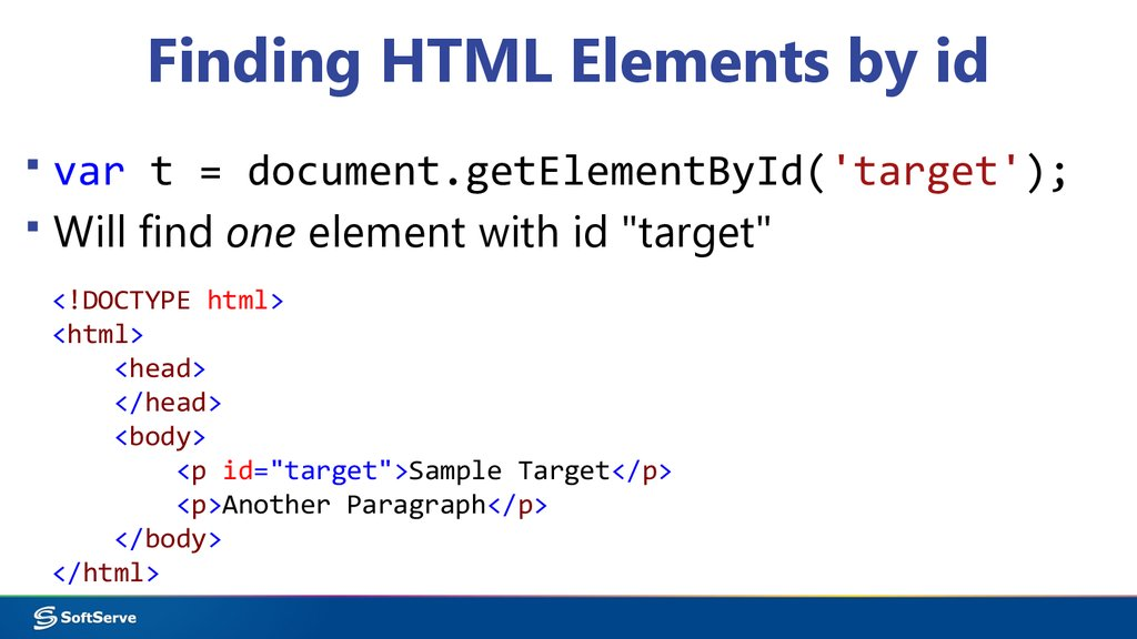 Finding HTML Elements by id