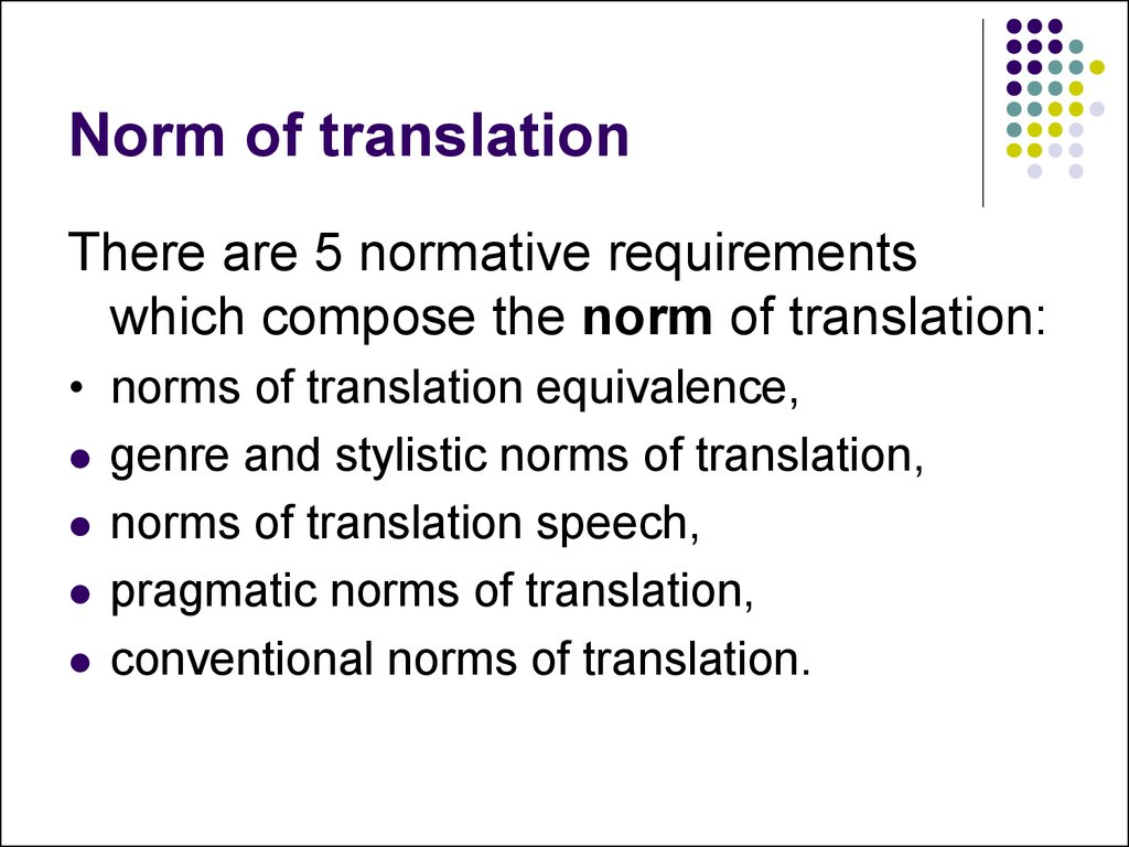Norm of translation