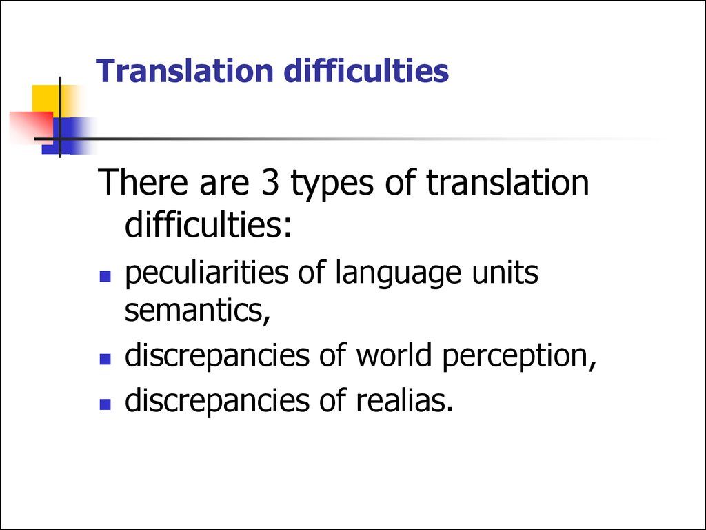 Translation difficulties