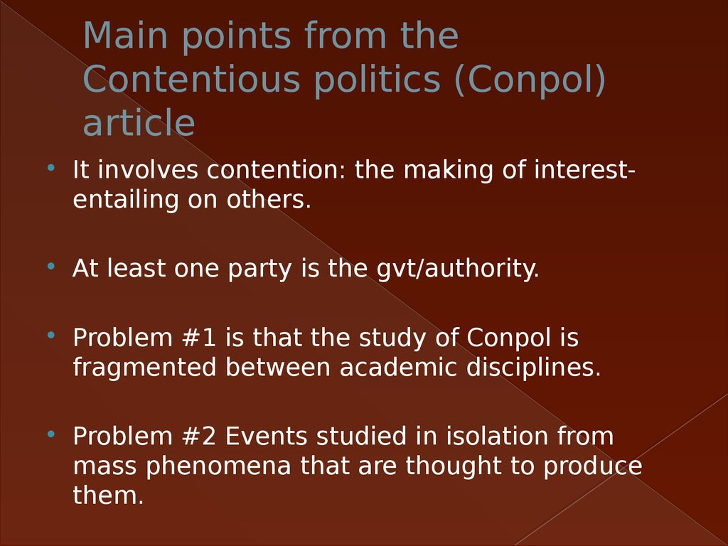 Main points from the Contentious politics (Conpol) article