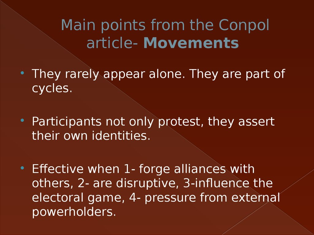 Main points from the Conpol article- Movements