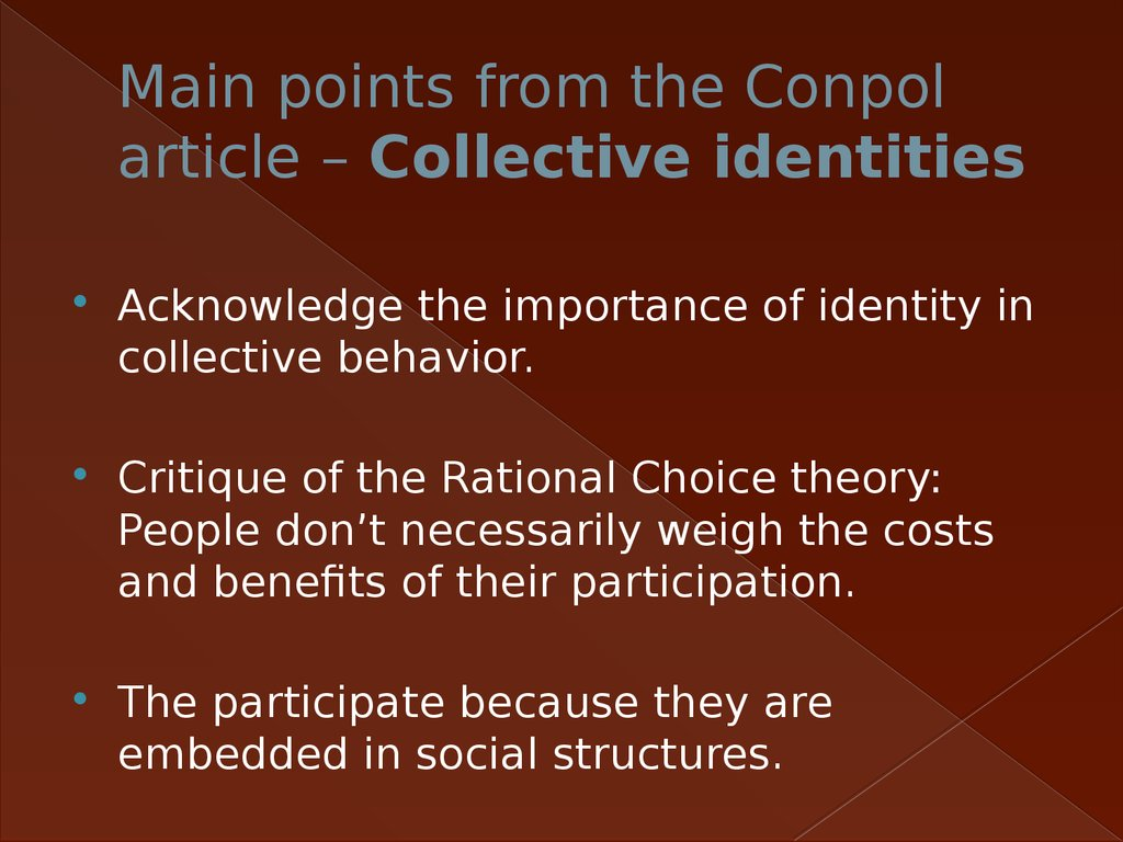 Main points from the Conpol article – Collective identities