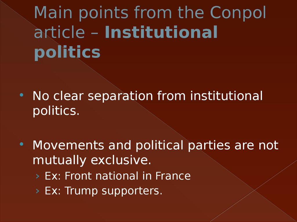 Main points from the Conpol article – Institutional politics
