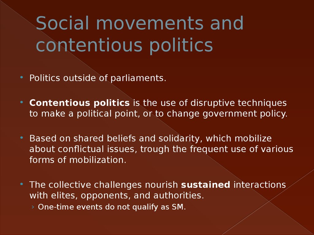 Social movements and contentious politics