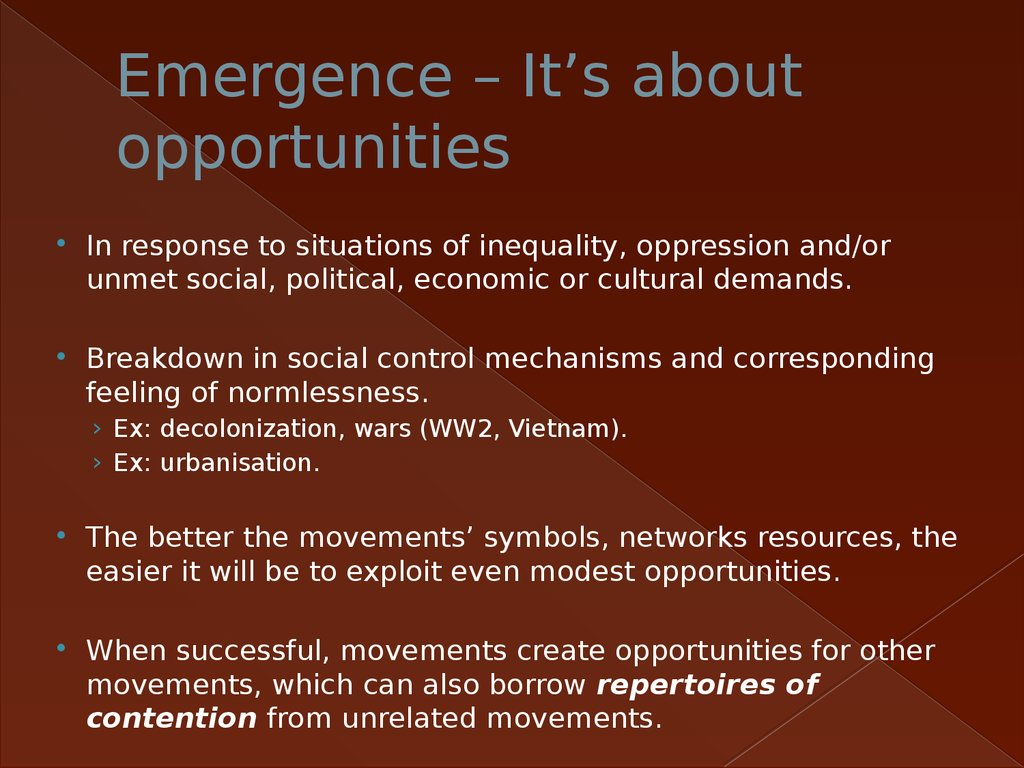 Emergence – It's about opportunities