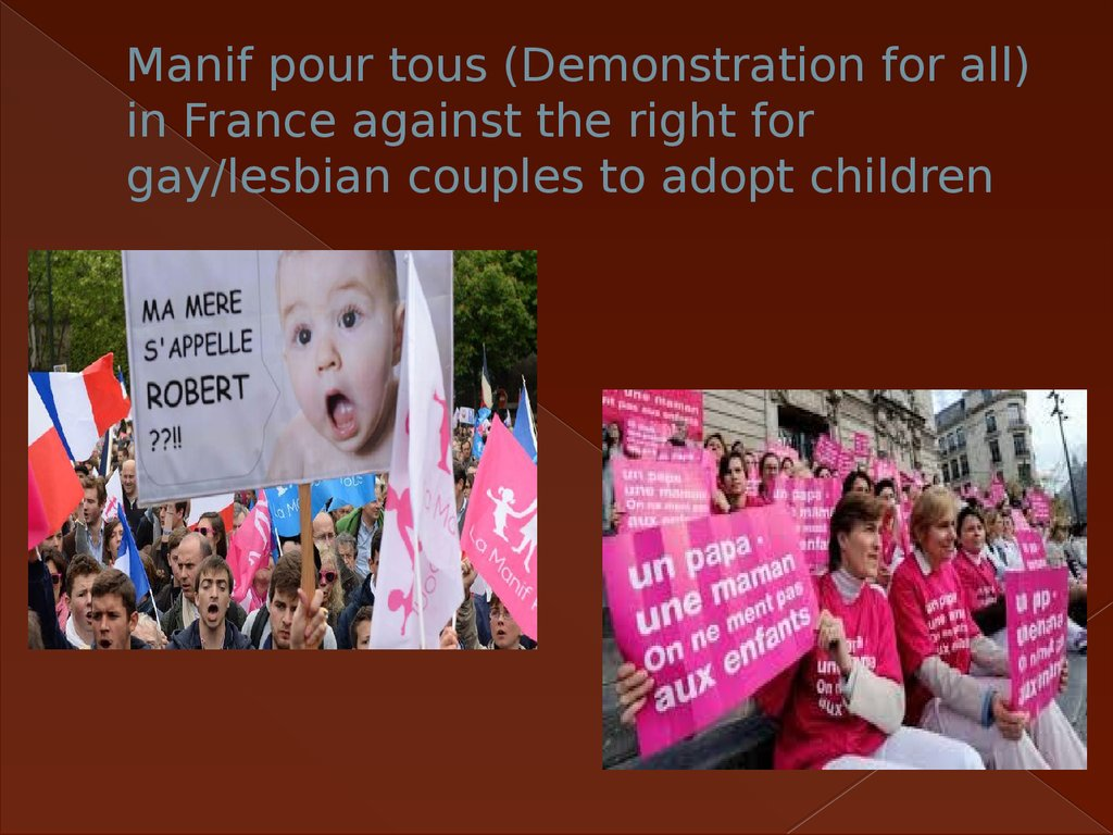 Manif pour tous (Demonstration for all) in France against the right for gay/lesbian couples to adopt children
