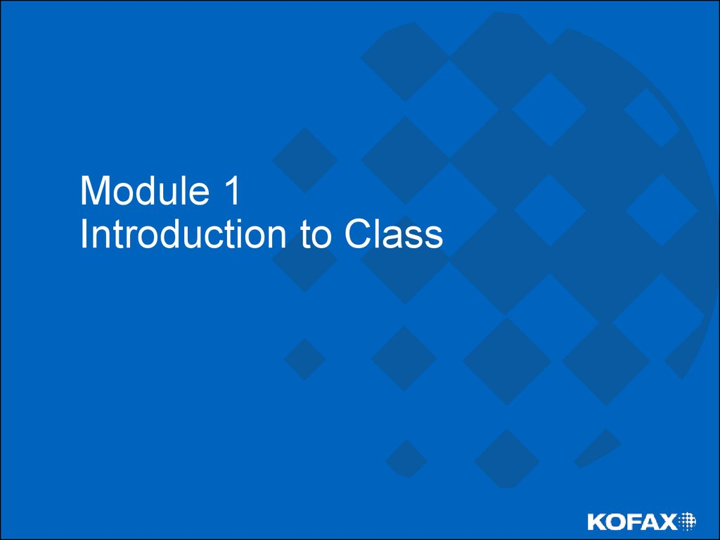 Module 1 Introduction to Class