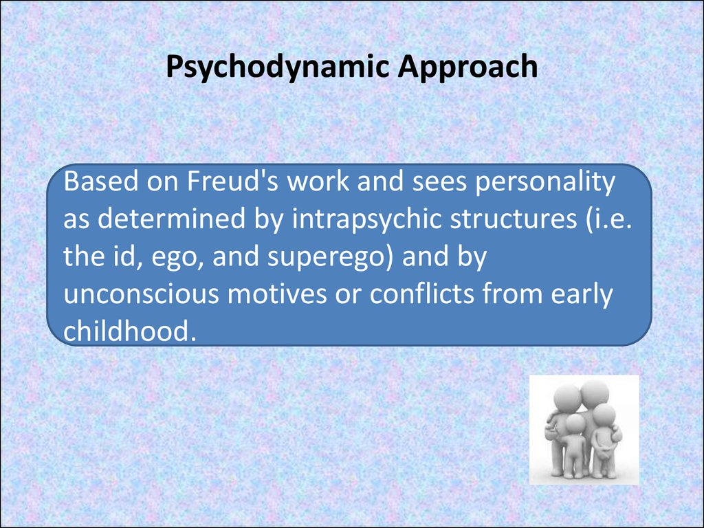 essays psychodynamic approach Sigmund freud believed that people have three levels of awareness, which are the conscious, preconscious, and the unconscious freud developed a detailed theory on how our own thoughts and feelings affect our actions it is known as freud's psychodynamic theory the words psyche or mind and.