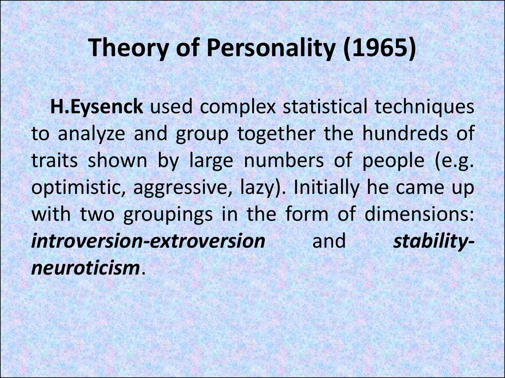 Theory of Personality (1965)