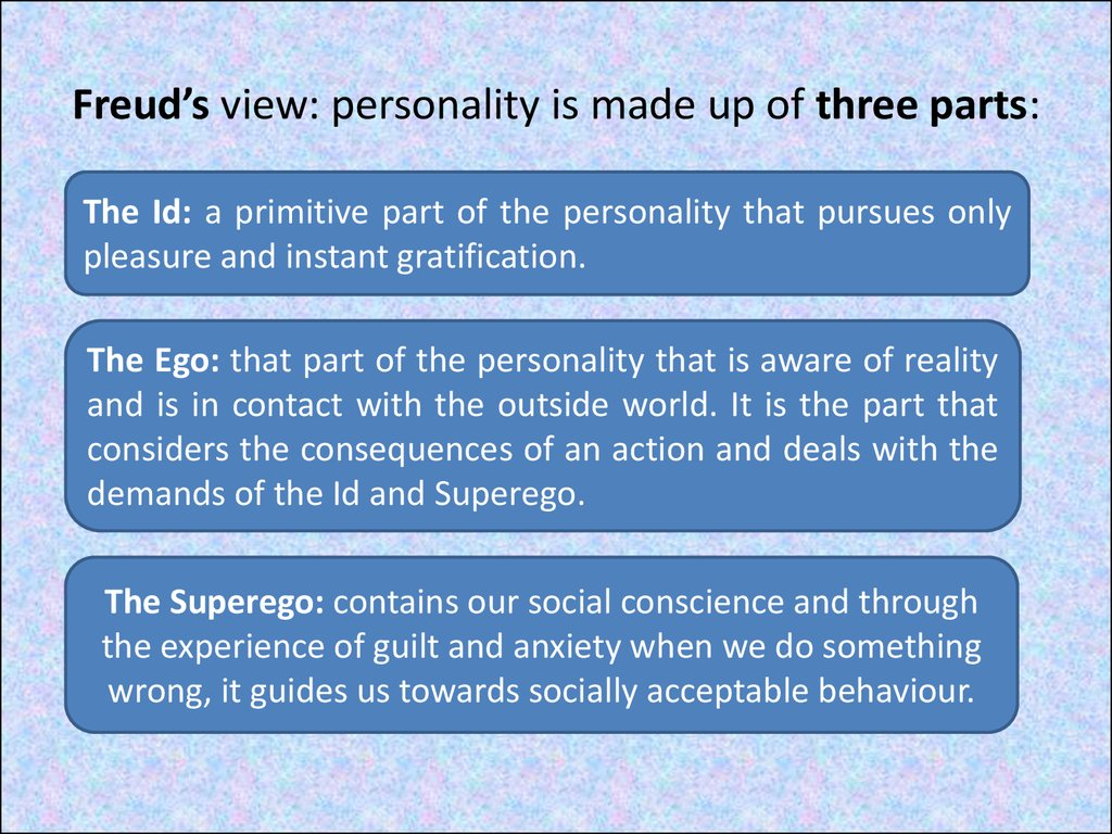 Freud's view: personality is made up of three parts: