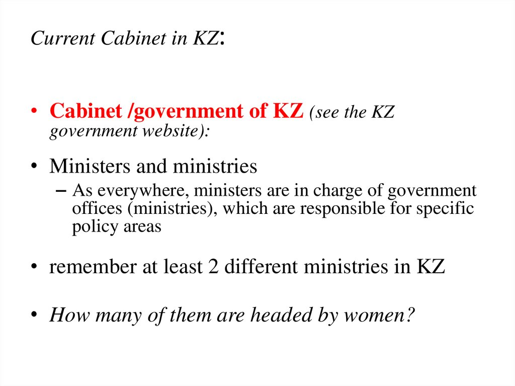 Current Cabinet in KZ: