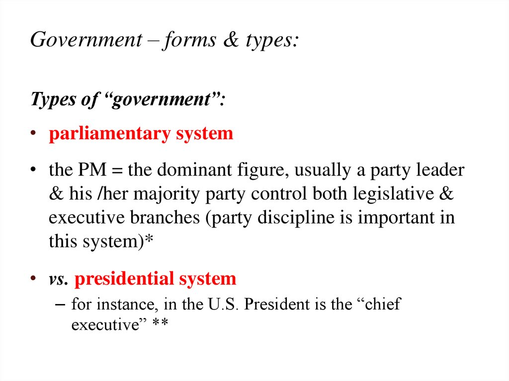 Government – forms & types: