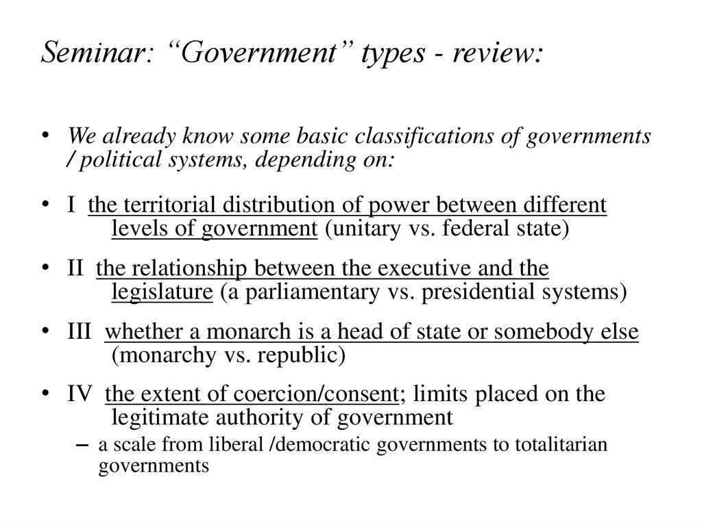 "Seminar: ""Government"" types - review:"