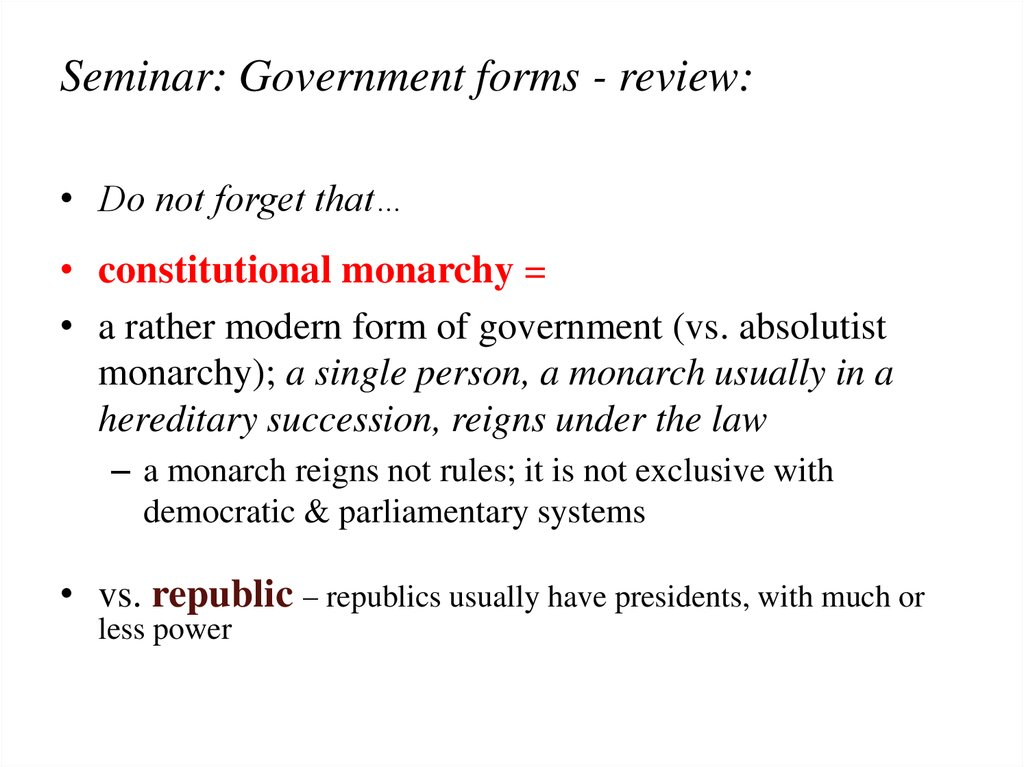 Seminar: Government forms - review: