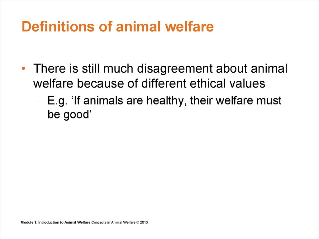 Definitions of animal welfare