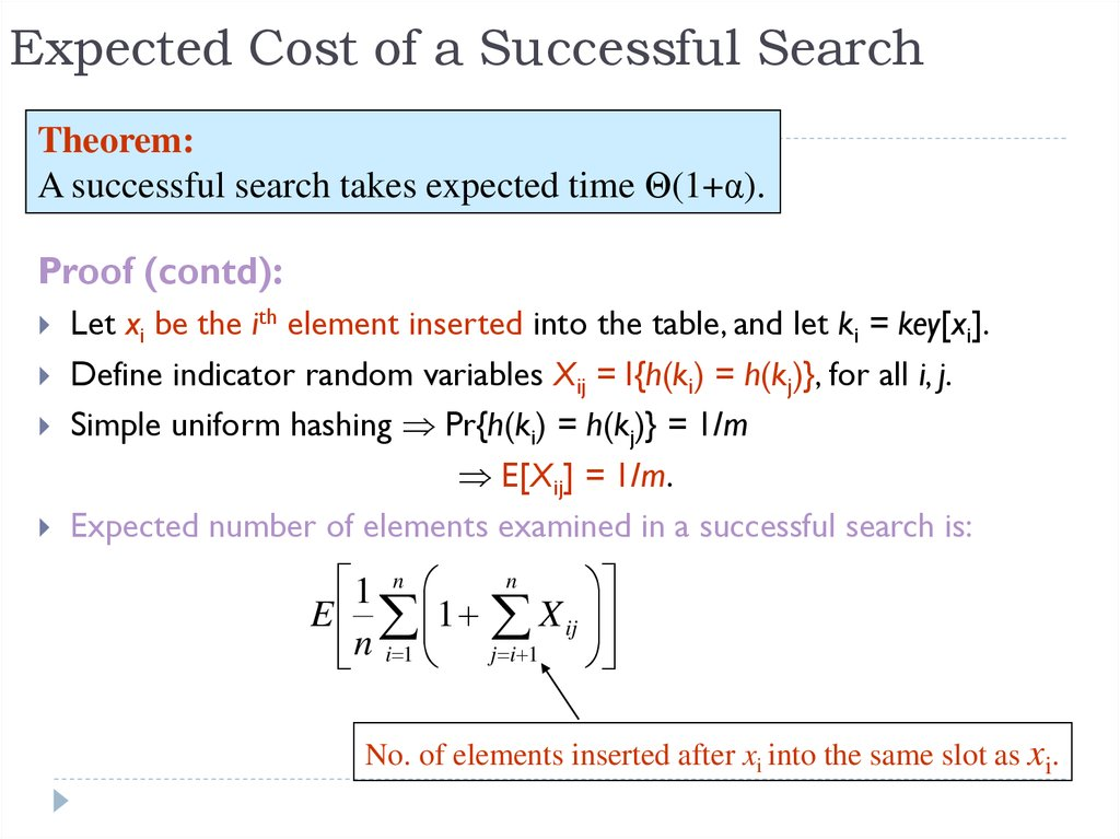 Expected Cost of a Successful Search