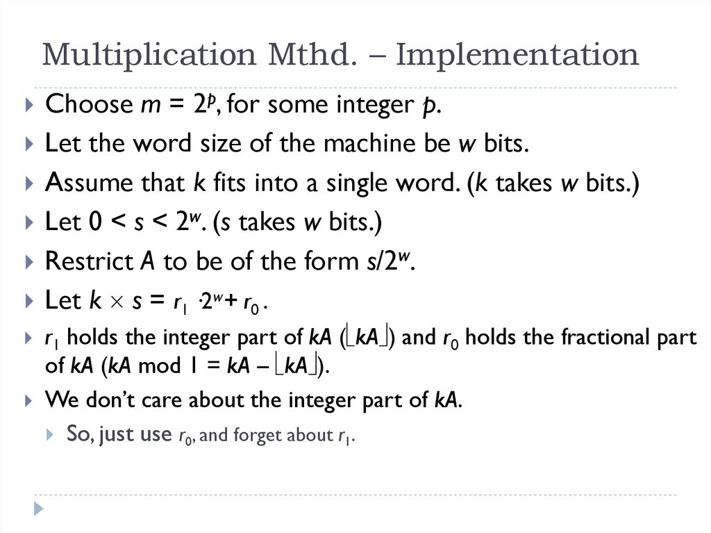 Multiplication Mthd. – Implementation