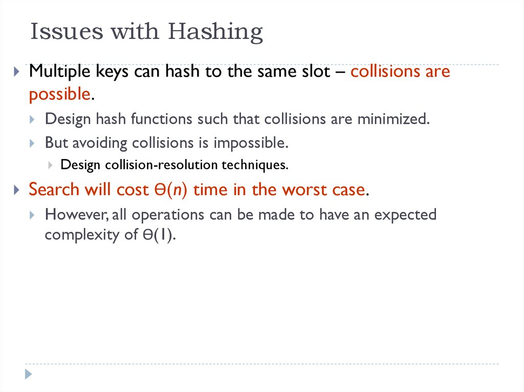 Issues with Hashing
