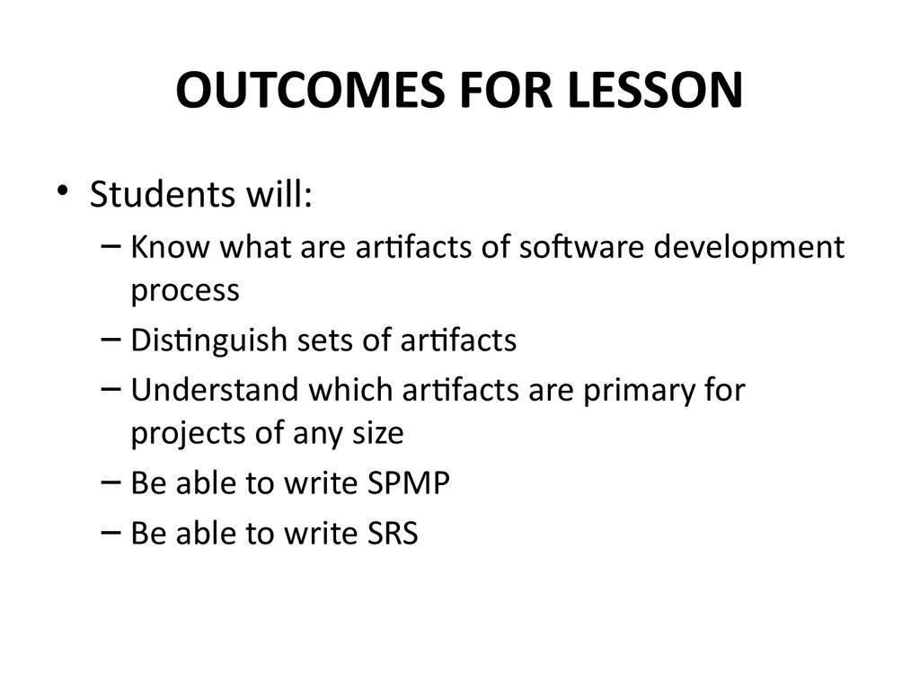 OUTCOMES FOR LESSON