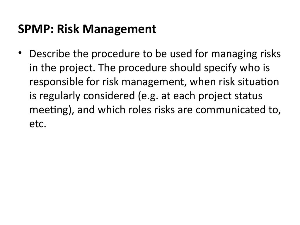 SPMP: Risk Management