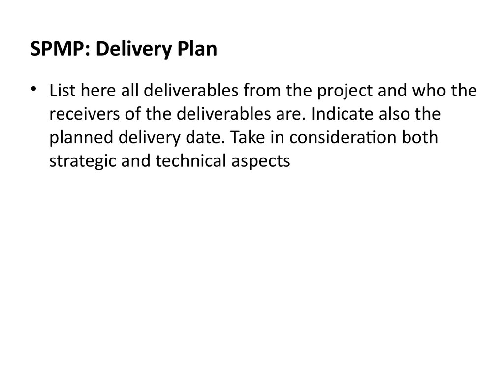 SPMP: Delivery Plan
