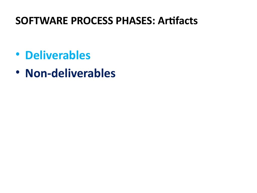 SOFTWARE PROCESS PHASES: Artifacts