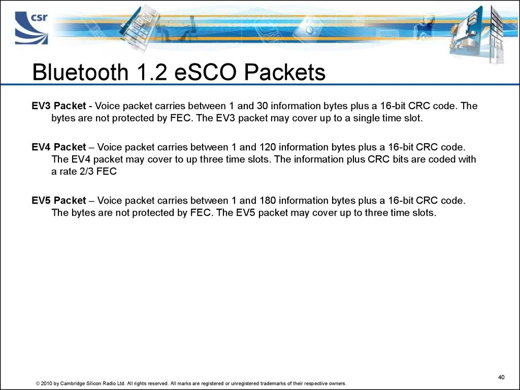 Bluetooth 1.2 eSCO Packets