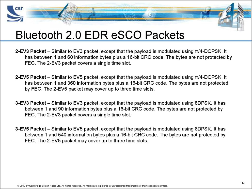 Bluetooth 2.0 EDR eSCO Packets