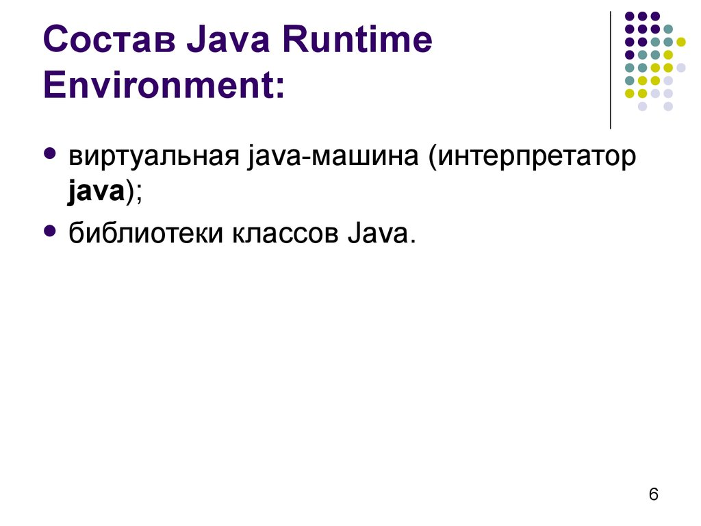 Состав Java Runtime Environment: