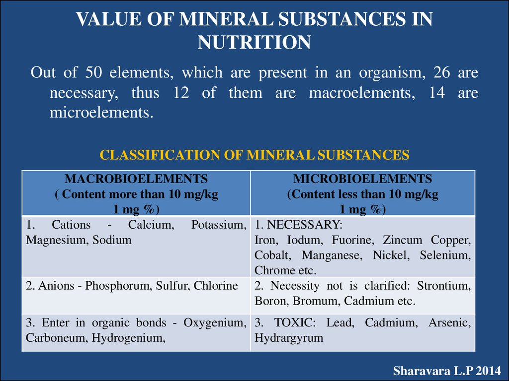 VALUE OF MINERAL SUBSTANCES IN NUTRITION