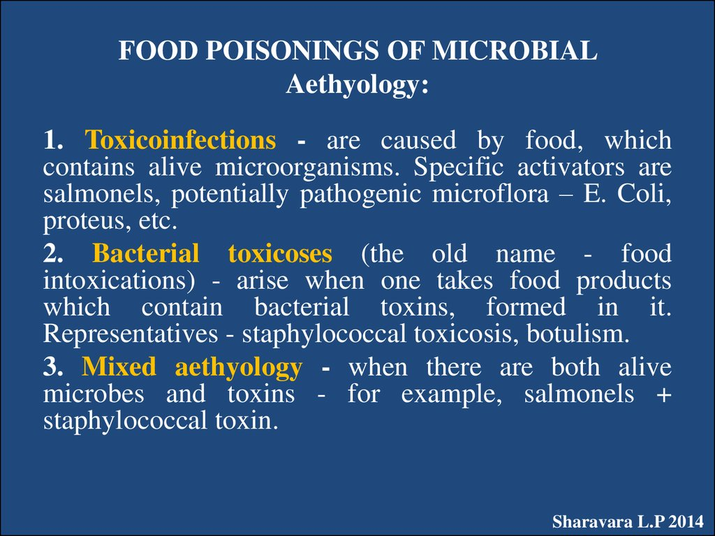 FOOD POISONINGS OF MICROBIAL Aethyology: