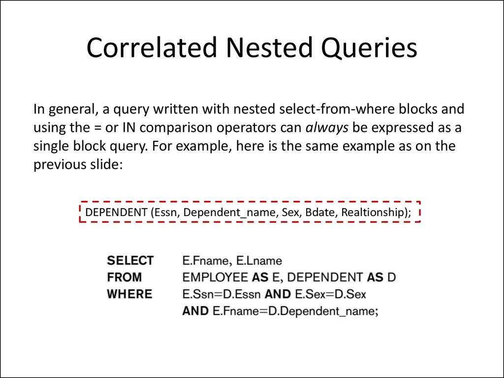 Correlated Nested Queries
