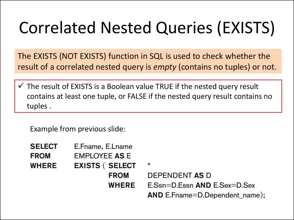 Correlated Nested Queries (EXISTS)