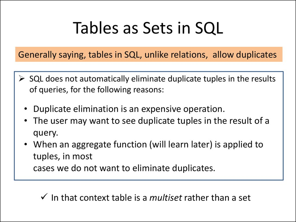 Tables as Sets in SQL