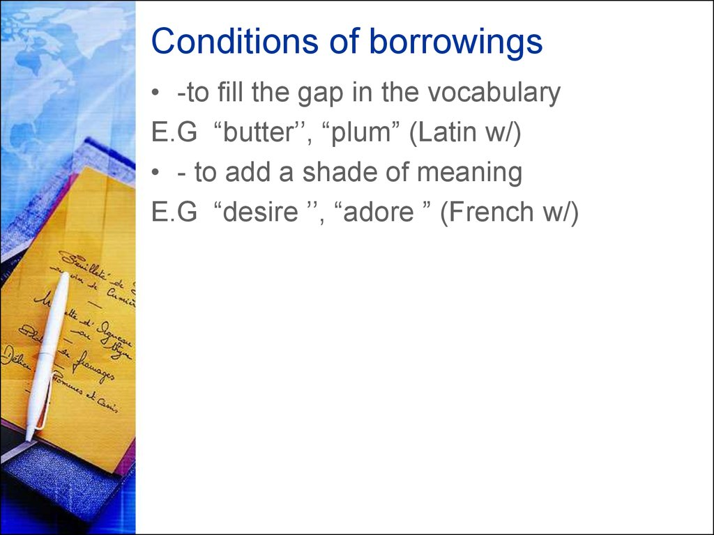 Conditions of borrowings