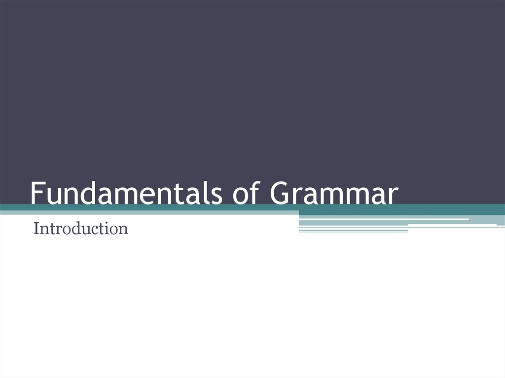 Fundamentals of Grammar