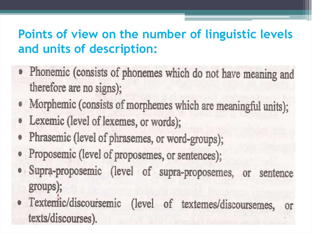Points of view on the number of linguistic levels and units of description: