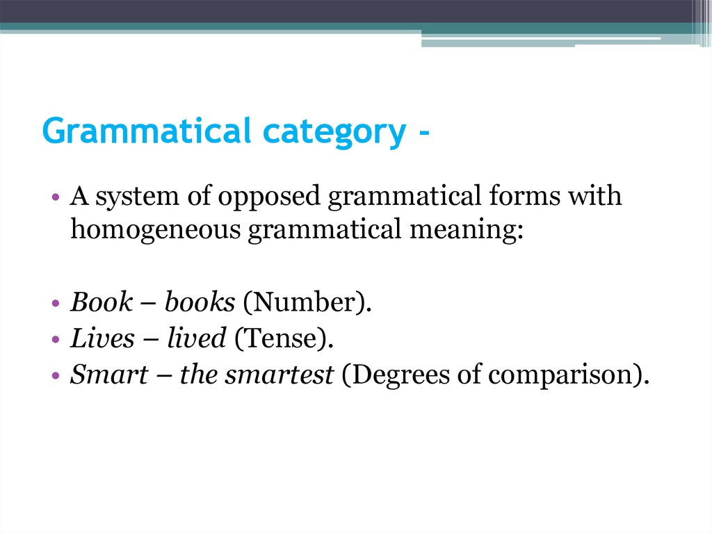 Grammatical category -