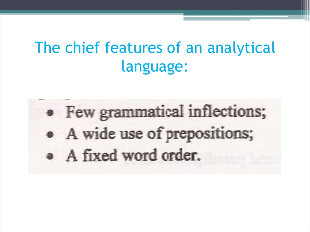 The chief features of an analytical language: