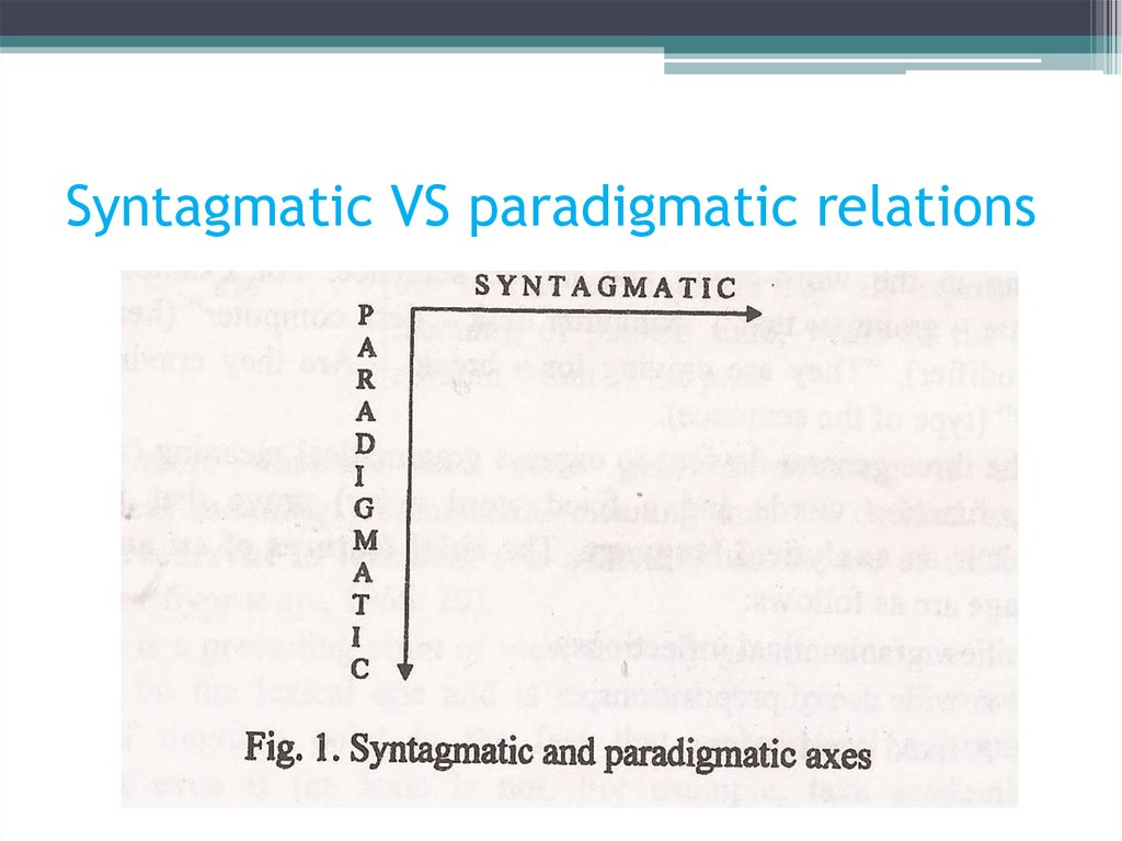 Syntagmatic VS paradigmatic relations