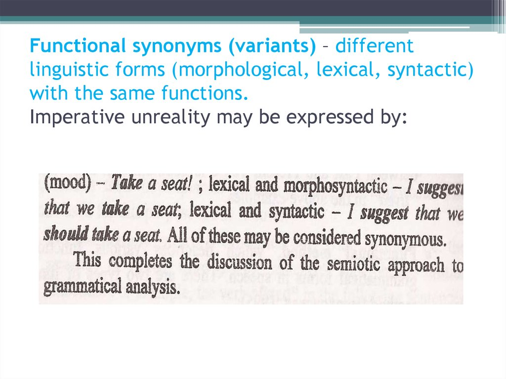 Functional synonyms (variants) – different linguistic forms (morphological, lexical, syntactic) with the same functions.