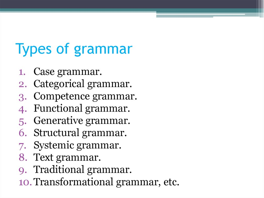 Types of grammar