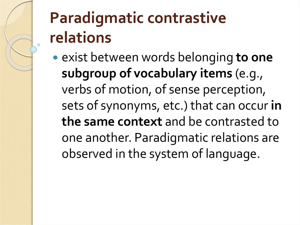 Paradigmatic contrastive relations