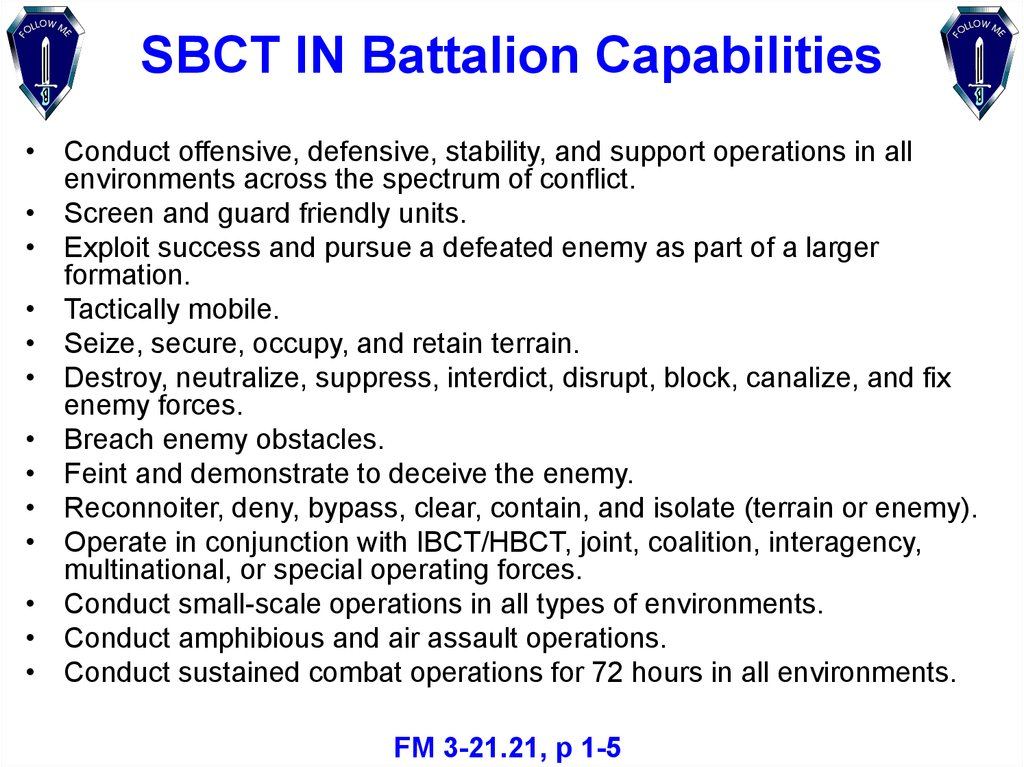 SBCT IN Battalion Capabilities