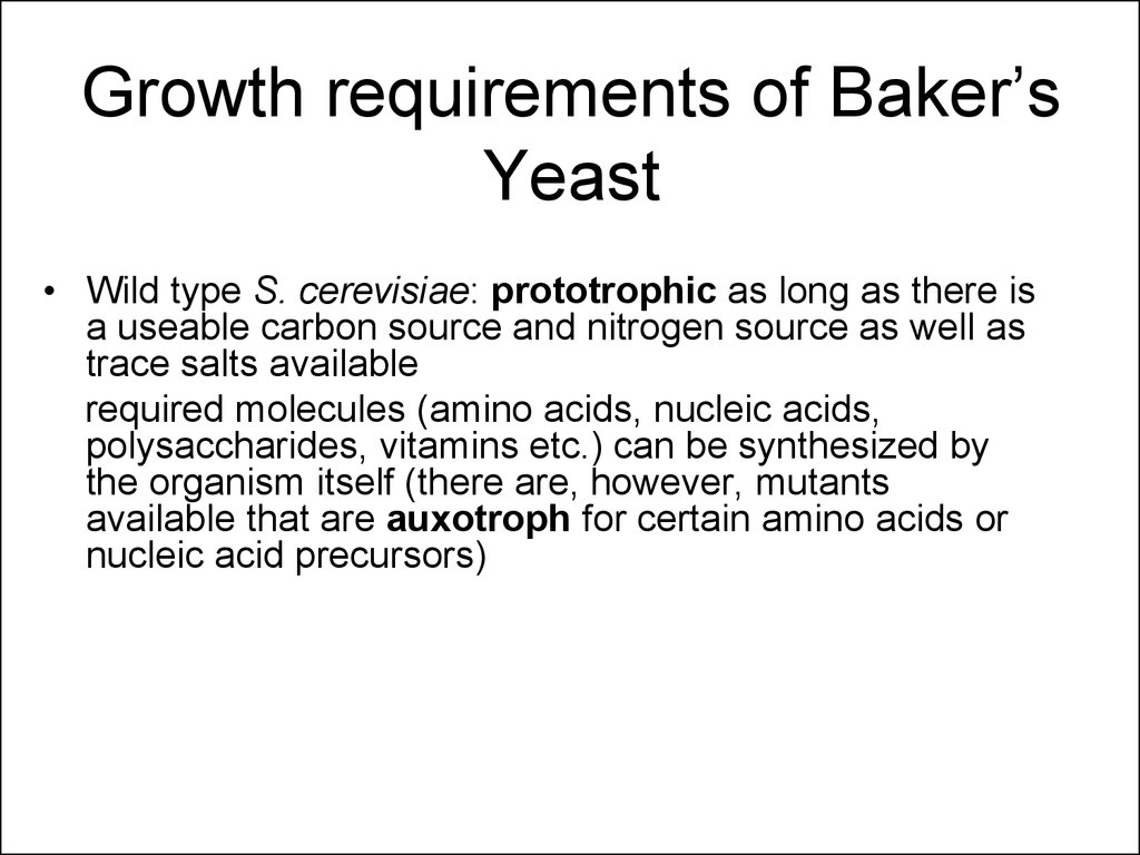 Growth requirements of Baker's Yeast