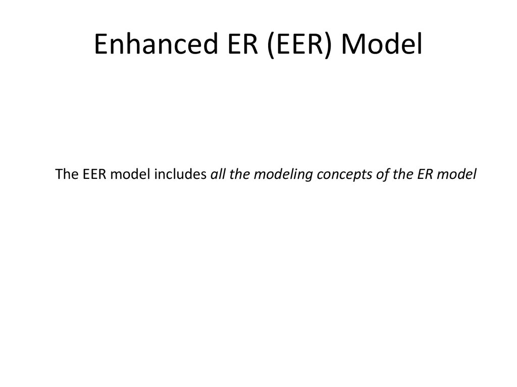 Analysis and design of data systems enhanced er eer mode the eer model includes all the modeling concepts of the er model ccuart Gallery